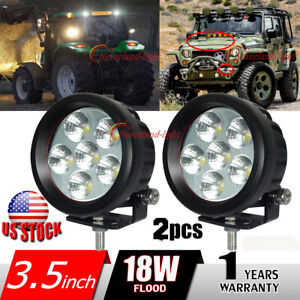 2x 3 5 18w 6000k Fog Light Round Led Work Lamp For Motorcycle Offroad Suv 4wd