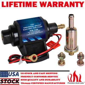 New Universal 4 7 Psi 3 8 Inch Micro Electric Fuel Pump 35 Gph 12v Transfer