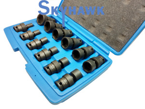 12 pc Sae 3 8 dr Universal Swivel Shallow Impact Socket Set