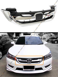 For 2013 15 9th Gen Honda Accord 4 Door Chrome Jdm Rs Style Front Grille Grill
