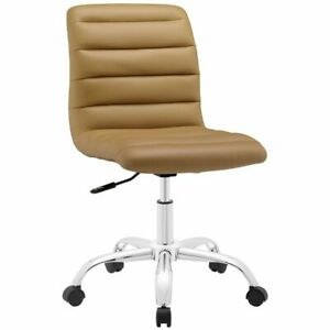 Modway Ripple Mid Back Armless Swivel Office Chair In Tan