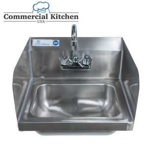 Stainless Steel Wall mount Hand Sink 9 X 9 Bowl With Faucet Side Splashes Nsf