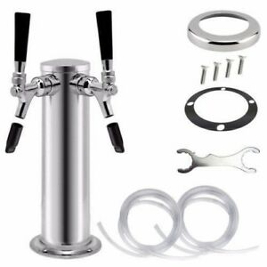 2 Tap 3 Stainless Steel Draft Beer Tower Self Closing Ss Faucet