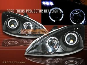 00 04 Ford Focus Zx3 Zx5 Projector Headlights Black Led