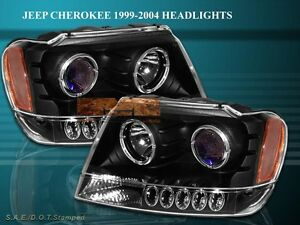 1999 2004 Jeep Grand Cherokee Projector Headlights Two Halo Black Led