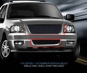 Black Vertical Billet Grille Grill Combo Insert Fits 03 06 Ford Expedition