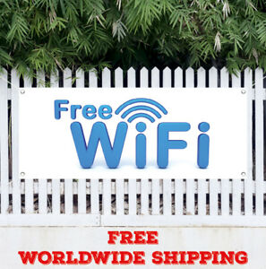 Banner Vinyl Free Wifi Advertising Sign Flag Internet Cafe Hotel Public Library