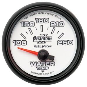Auto Meter Phantom Ii 52 4mm Sse 100 250 Deg F Water Temperature Gauge