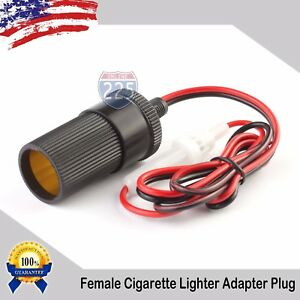 24 Female Car Cigarette Lighter Socket Plug Connector Cable 12 24v Dc 5a Fuse