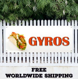 Banner Vinyl Gyros Advertising Sign Flag Stand Food Greece Fresh Restaurant