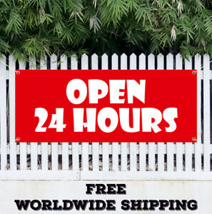 Open 24 Hours Advertising Vinyl Banner Sign Flag Poster Bar Store Workshop