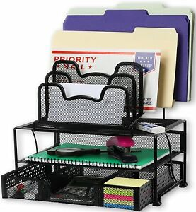 Simplehouseware Desk Organizer Sliding Drawer Double Tray 5 Upright Sections