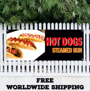 Hot Dogs Steamed Bun Advertising Vinyl Banner Flag Sign Chili Fast Food Burgers