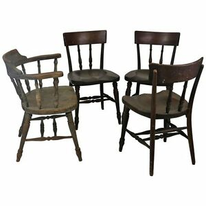 Set Of Five Original Early Thonet Windsor Captain S Chairs With Labels