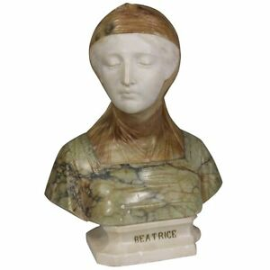 19th Century Italian Bust Of Dante S Beatrice Marble And Alabaster