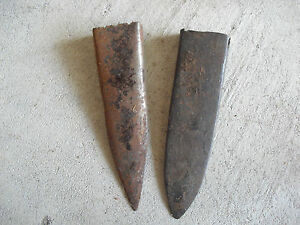 Lot Of 2 Antique Metal Knife Or Sword End Pieces Look