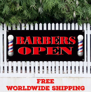 Banner Vinyl Barber Open Advertising Sign Shaves Beauty Salon Woman Haircuts
