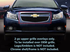 Black Billet Grille Upper Grill Inserts 2 Pcs For 2011 2014 Chevy Cruze
