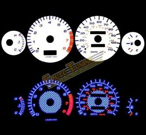 White Indiglo Gauges Kit Glow Blue Reverse For 93 97 Corolla All Models