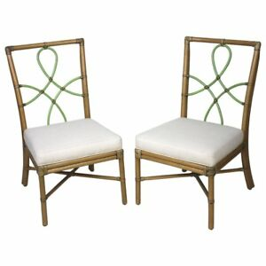 Mcguire Pair Of Bamboo Side Chairs Diamond Ribbon Back
