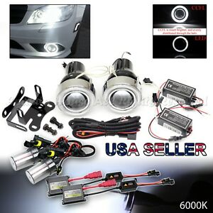 Projector Fog Lights Upgrade Euro White Ccfl Halo Rings Dual Switch 6000k Hid