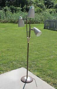 Mid Century Modern 3 Lamp Floor Pole Light Atomic Age Danish Retro Brown Brass