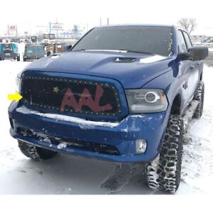 Aal 2013 14 15 16 17 Dodge Ram 1500 Steel Black Rivet Mesh Grille