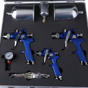 3pcs Hvlp Air Spray Gun Kit Gravity Feed Paint Sprayer 1 7 1 4 1 0 Mm Nozzle box