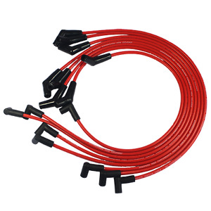 For Bbc Chevy 396 427 454 502 Hei Red Spiral Core Spark Plug Wires 45 Degree End