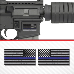 2x American Flag Thin Blue Line Sticker Vinyl Decal Ar 15 Lower Tactical Police