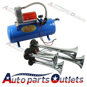 12 Volt Compressor 4ft Hose 150 Db Train 120 Psi Kit Truck 4 Trumpet Air Horn