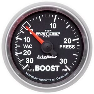 Auto Meter Sport Comp Ii 52mm 30 Psi Mechanical Boost Vacumm Gauge