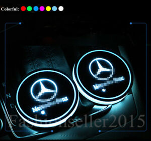 2x For Mercedes Benz Led Car Cup Holder Pad Mat Auto Interior Atmosphere Lights