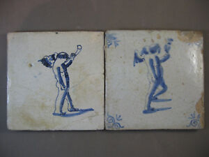 2x Antique Dutch Angel Biblical Tiles Rare 17th Century Free Shipping