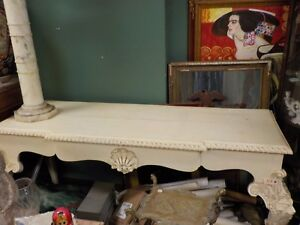 Mid Century Long Whitewash Lions Head Console Table
