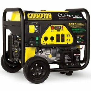 Champion 100165 7500 Watt Electric Start Dual Fuel Portable Generator