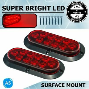 2x Oval Red 6 10 Led Surface Mount Stop Brake Marker Tail Led Light For Truck