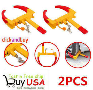 2x Wheel Lock Clamp Boot Tire Claw Trailer Auto Car Truck Anti Theft Towing Ejg