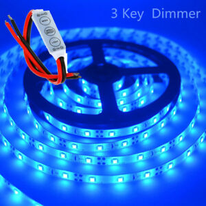 Waterproof Blue Led Strip Light 12v 5m 2835 Smd 300 Leds Lights Dimmer