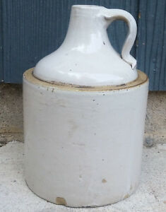 Antique Vintage Red Wing 1 2 Gallon Bottom Signed Minnesota Stoneware Whisky Jug