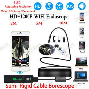 Semi rigid Wifi Endoscope Hd Camera Pipe 1200p Borescope For Android Iphone