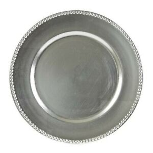 10 Strawberry Street Lacquer Round Charger Plate In Silver Set Of 6