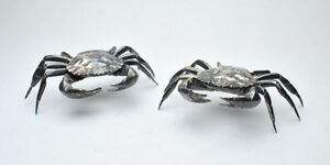 Antique Pair Sterling Silver Plated Crab Snuff Boxes Salt Cellars