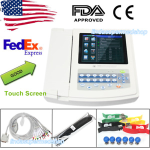 Portable 12 Channel leads Ecg Ekg Machine 8 Touch Screen Printer software Fda