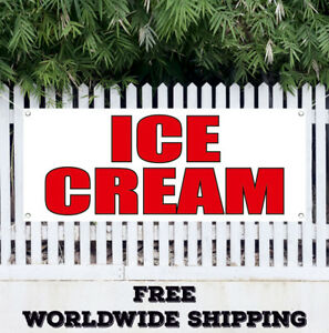 Banner Vinyl Ice Cream Advertising Sign Flag Chocolate Strawberry Cone Sundae