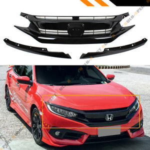 For 2016 18 Honda Civic 10th Gen Black Jdm Rs Style Front Hood Grille Eye Lid