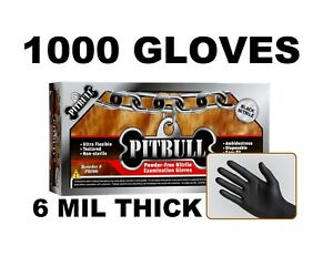 Pitbull Black Nitrile Gloves 6 Mil Powder Free Case Of 1000 S M L Xl