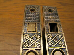 Pair F C Linde Pattern Pocket Door Locks Brass Bronze Ornate
