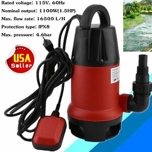 New 1100w 1 5hp Clear Dirty Water Submersible Pump Pool Pond 110v 3700 Gph Multi