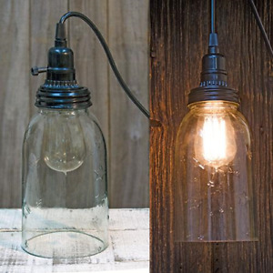Primitive Farmhouse Clear Star Mason Jar Pendant Light Hanging Lamp With Stars